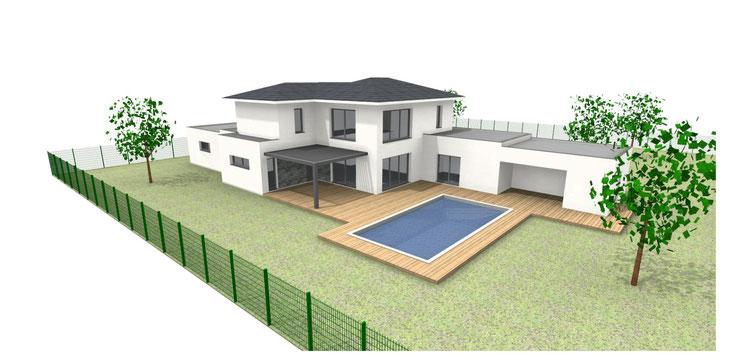 permis de construire maison contemporaine 33370 POMPIGNAC
