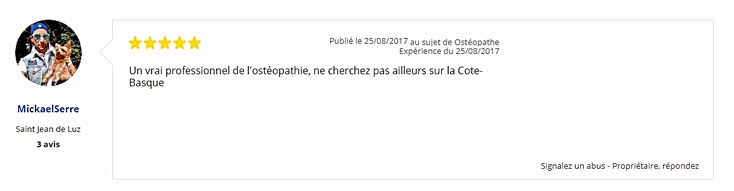 Avis 4 de patient sur Philippe BOISFER ostéopathe diplômé