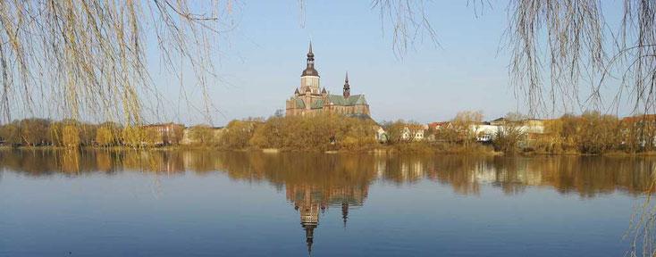 Kleiner Frankenteich mit der Marienkirche und naturbelassenen Ufern