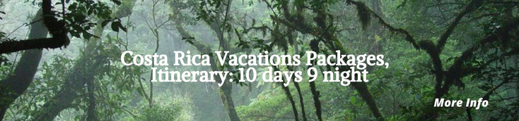 Costa Rica Vacation Packages for 10 day and 9 night - Volcanoes, beach, mountain.