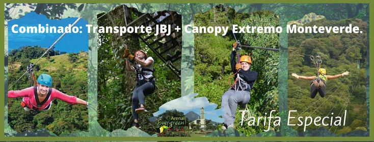Transporte a Monteverde más Canopy Extremo