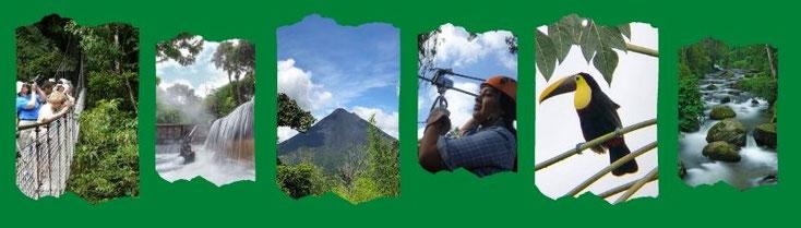 Vacaciones en Costa Rica. Volcan Arenal desde Tamarindo, coco, conchal, Flamingo, liberia