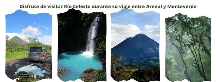 Tour a la Catarata de Río Celeste viajando entre La Fortuna Volcán Arenal  y Santa Elena Monteverde