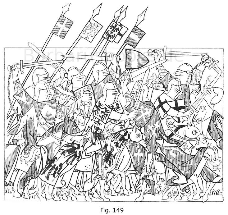 Fig. 149. Reitergefecht aus dem Codex Balduini, die Romfahrt Kaiser Heinrichs VII. darstellend aus dem königlichen Provinzialarchiv zu Koblenz. Erste Hälfte des 14. Jahrhunderts. Nach Irmer Dr. G. die Romfahrt etc.