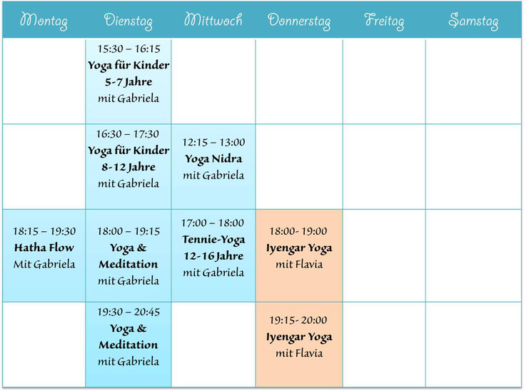 Stundenplan Yoga Mollis