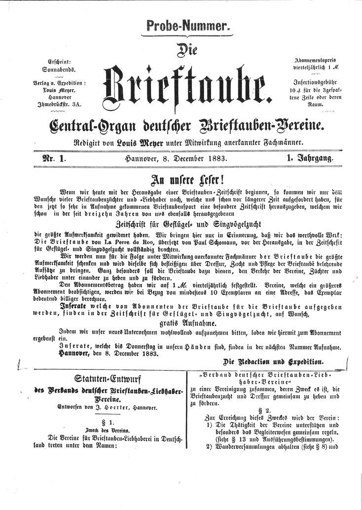 """1. Ausgabe der Zeitschrift """"Die Brieftaube"""" 1883, Statuten-Entwurf des Verbandes Deutscher Brieftauben-Liebhabervereine"""