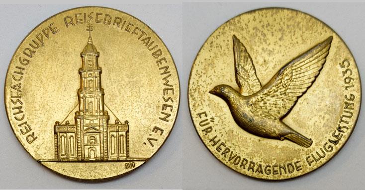 Medaille der Reichsfachgruppe Reisebrieftaubenwesen e.V. aus dem Jahr 1935, Brieftauben, Brieftaubenwesen
