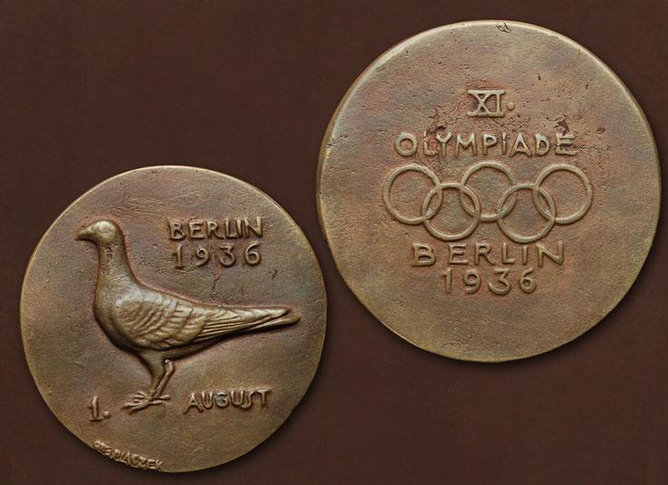 Medaille anläßlich des Starts von 100.000 Brieftauben bei Eröffnungsfeier der Olympiade 1936 in Berlin