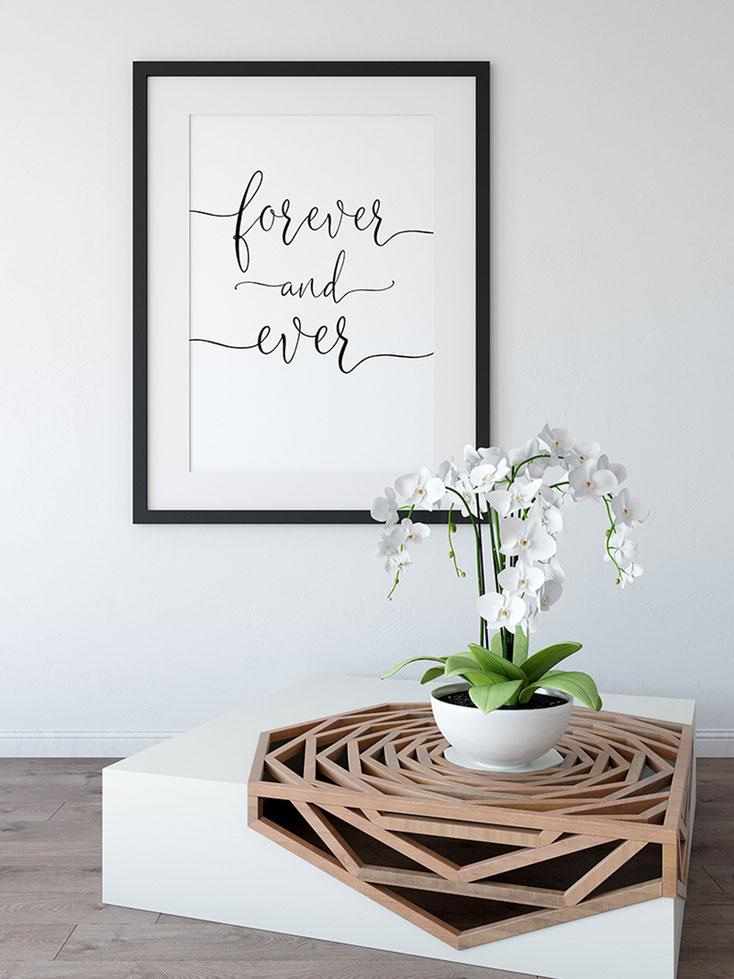 Kunstdruck schwarz weiß für immer