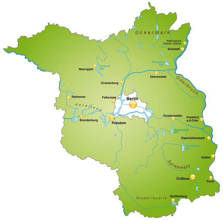 Brandenburg Karte; Detektei Brandenburg, Detektiv Brandenburg, Wirtschaftsdetektei Brandenburg