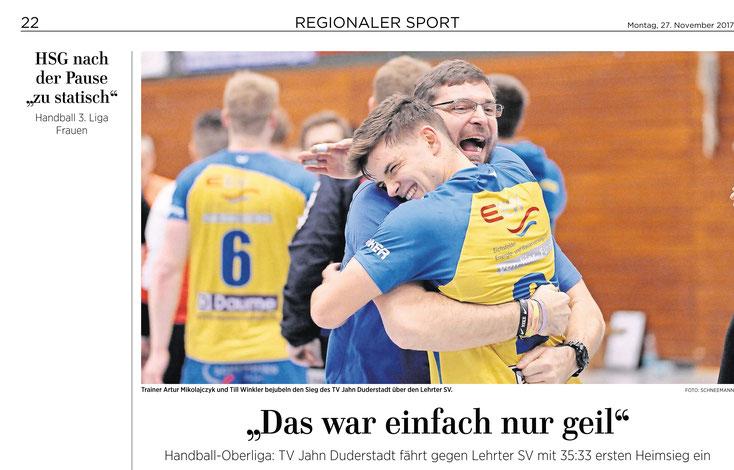 Eichsfelder Tageblatt 27.11.2017 / Heimsieg des TV Jahn Duderstadt