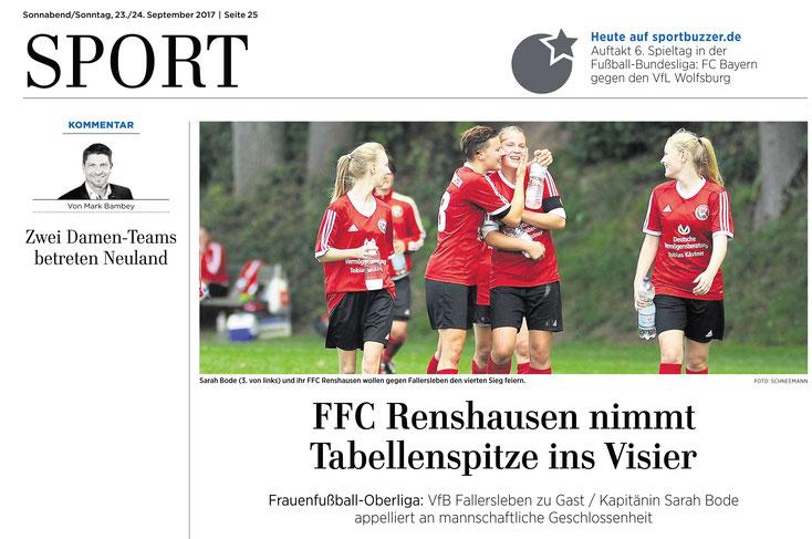 Ankündigung FFC Renshausen im Eichsfelder Tageblatt
