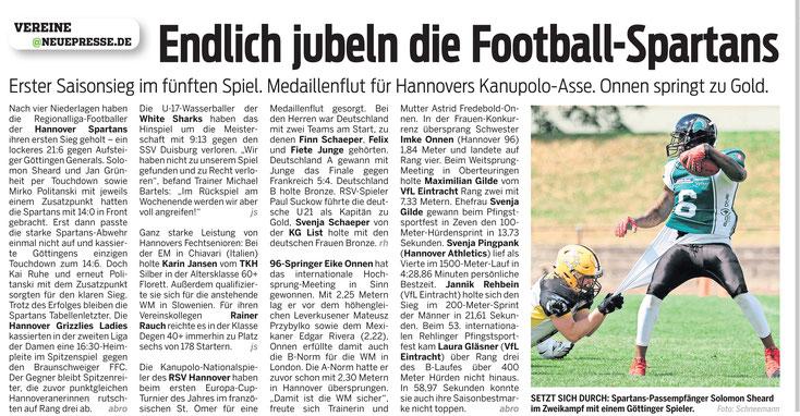 Football. Göttingen Generals vs Arminia Spartans Hannover: Neue Presse Hannover, 07.06.2017