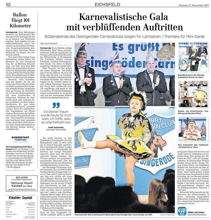Eichsfelder Tageblatt 27.11.2017 / Büttenabend in Desingerode am 25.11.2017