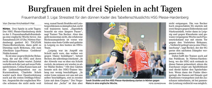 Sarah Strahlke, HSGP, HSG Plesse-Hardenberg, Göttinger Tageblatt, Handball 3.Liga