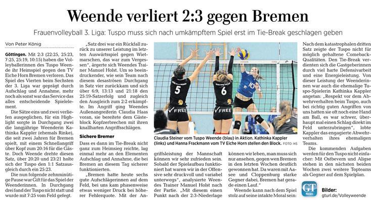 Göttinger Tageblatt, Tuspo Weende verliert gegen Bremen