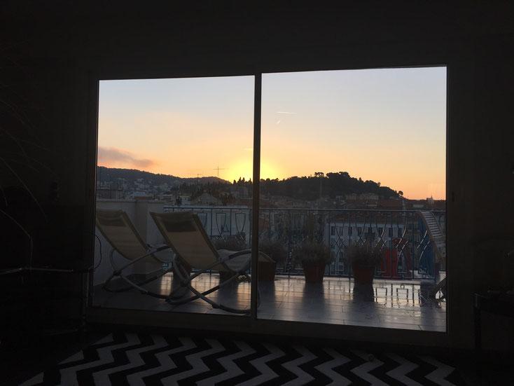 lever de soleil Nice terrasse