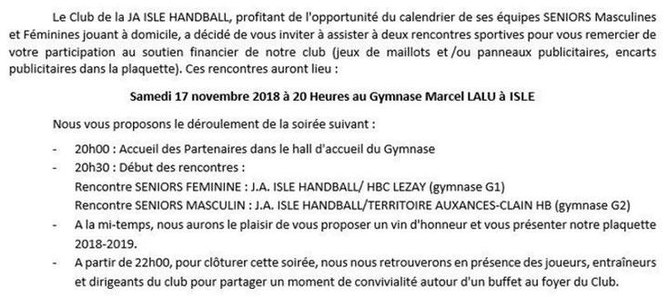 Soirée partenaires 2018 de la JA Isle Handball : détail du programme