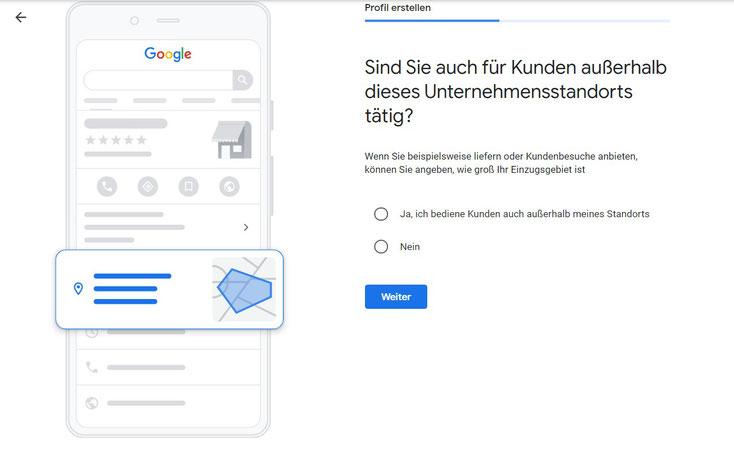 Google My Business Standort festlegen.