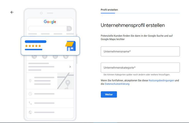 Google My Business Unternehmensname festlegen.