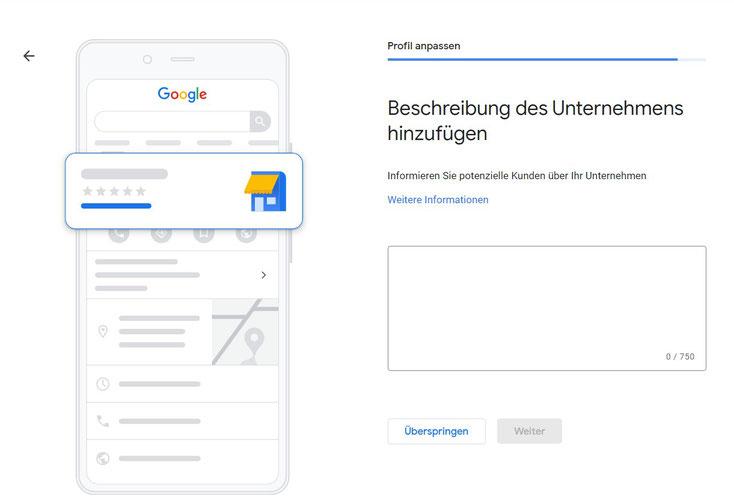 Eine einzigartige Unternehmensbeschreibung für Google My Business erstellen.