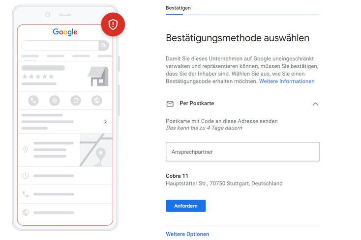Google My Business: Unternehmen bestätigen (verify my business) und Eintrag veröffentlichen.