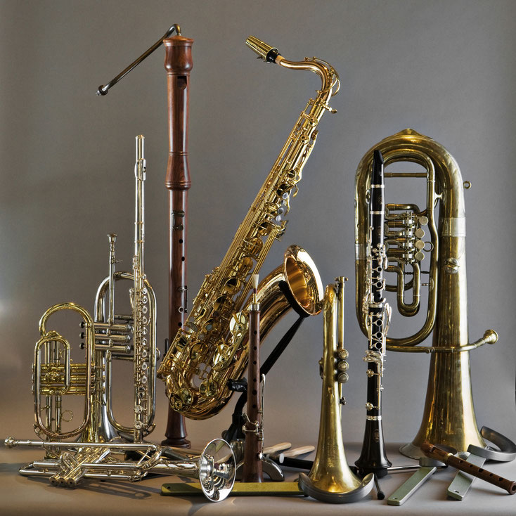 Acoustique & Mécanique intervient sur tous les instruments à vent, tels que les flûte, clarinette, hautbois, basson, fagot, cornet, bugle, cor, trombone
