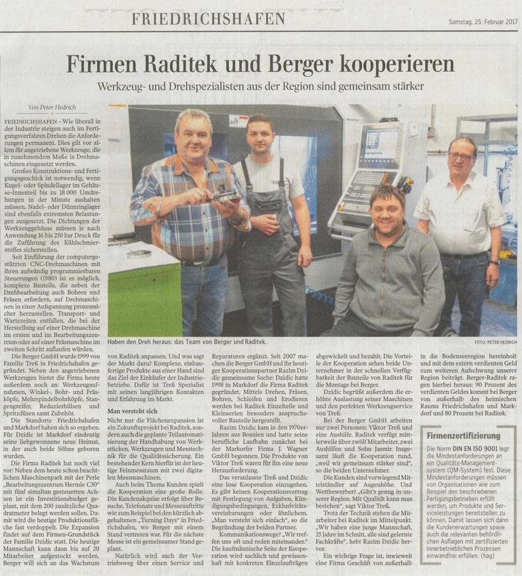 Firmenpräsentation vom 25.02.2017 in der Schwäbischen Zeitung: Firmen Raditek und Berger kooperieren.