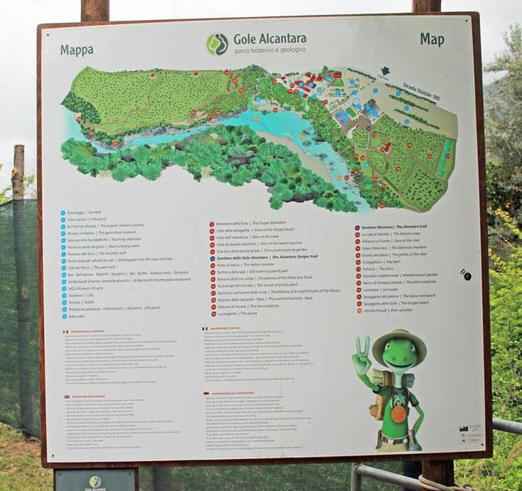 Sizilien 2016, Karte der Alcantara Schlucht