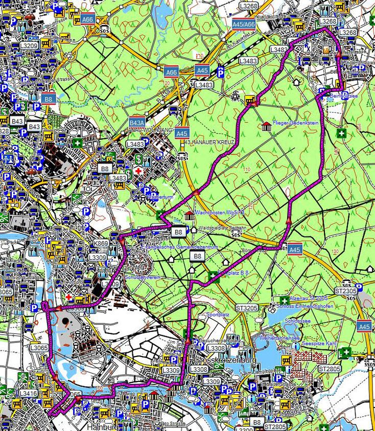 Bild 1 Strecke die wir gefahren sind am 14.5.2017 - Kartenquelle: © OpenStreetMap-Mitwirkende