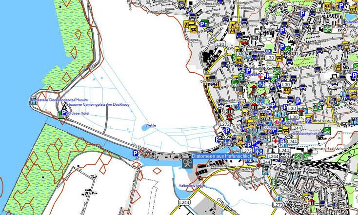Bild 1 Fundort Diatomeen im Hafen von Husum - Kartenquelle: © OpenStreetMap-Mitwirkende