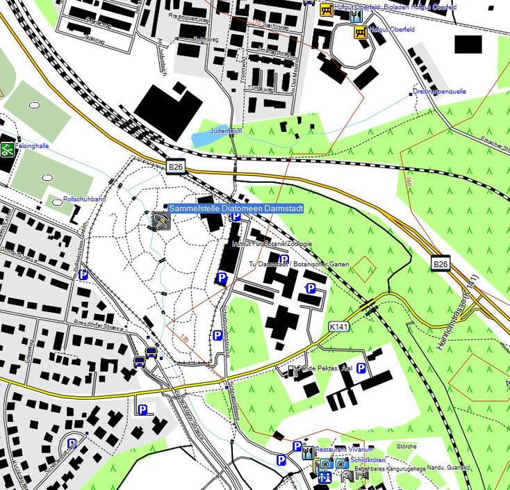 Bild 1 Sammelstelle der Diatomeen aus dem Teich im botanischen Garten in Darmstadt - Kartenquelle: © OpenStreetMap-Mitwirkende