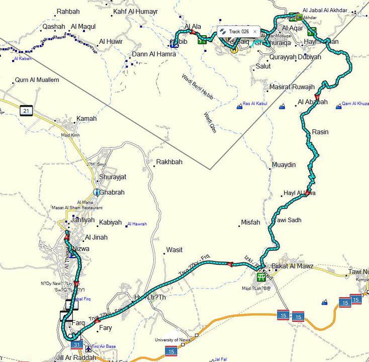 Oman Urlaub 2017; Heutige zurückgelegte Strecke, ca. 120 km