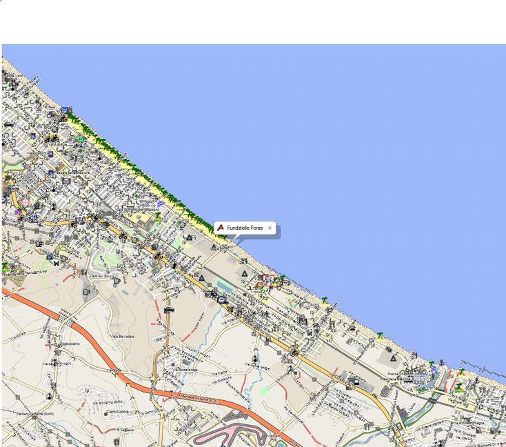 Bild 1 Sandsammelstelle vom Badestrand Nähe Rimini/Italien; Kartenquelle: © OpenStreetMap-Mitwirkende