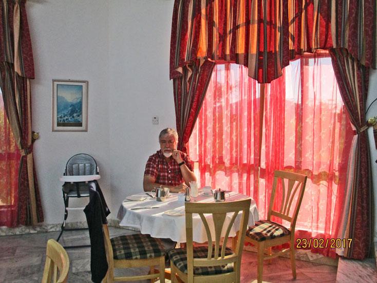 Oman Uralub 2017; Frühstück im Hotel Al Jabal Al Akhtar
