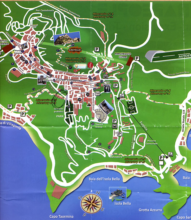 Sizilien 2016, Stadtplan von Taormina