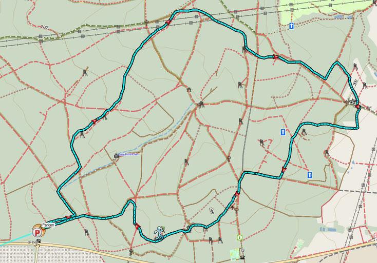 Bild 3 Route der Wanderung am 2.4.2018 Quelle: Openstreetmaps