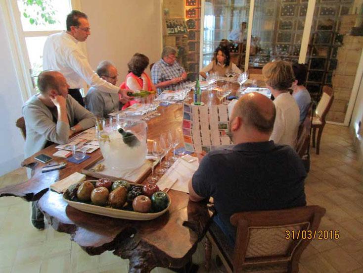 Sizilien 2016, Weinprobe in der Foresteria Planeta