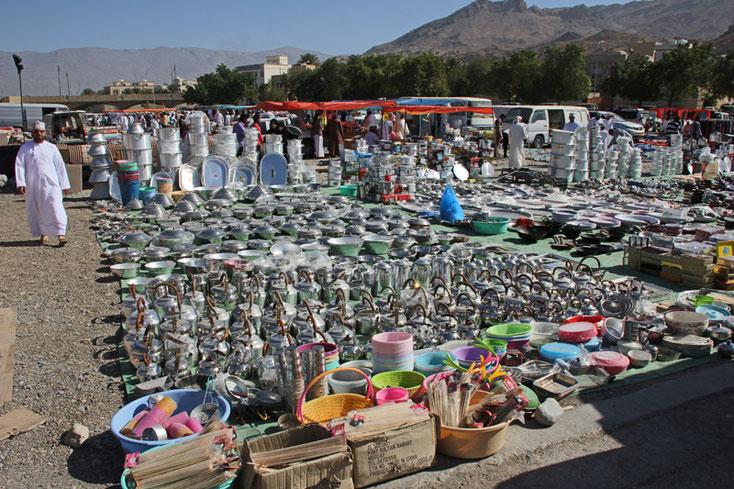Oman Urlaub 2017; Markt in Nizwa an einem Freitag morgen