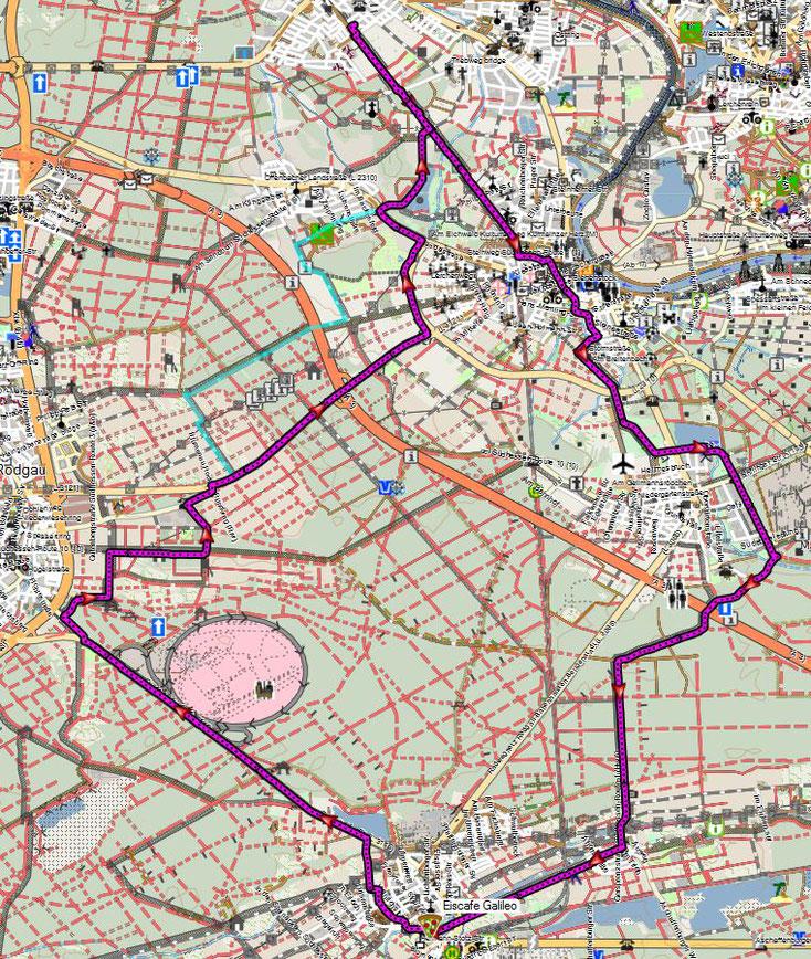 Bild 6 Strecke am 8.4.2018 nach Babenhausen und zurück. Bildquelle: www.openstreetmap.org/copyright