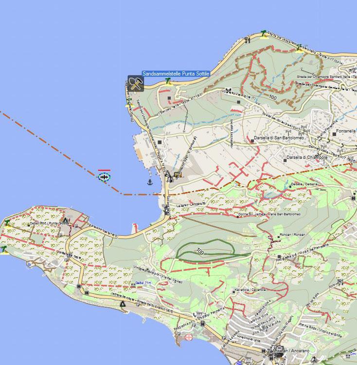 Sammelstelle Punta Sottile. Kartenquelle: © OpenStreetMap-Mitwirkende