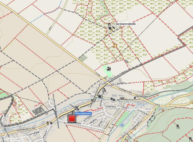 Sandsammelstelle in einer Sandgrube bei Wendelsheim, Erdgeschichte: Oligozän. Kartenquelle: © OpenStreetMap-Mitwirkende
