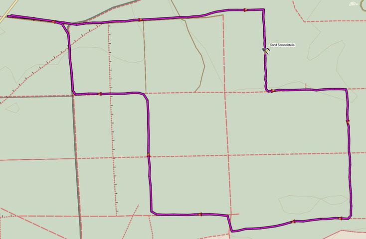Bild 1 Sandsammelstelle. Kartenquelle: © OpenStreetMap-Mitwirkende