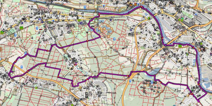 Bild 1 Streckenplan der Rundfahrt Hainburg-Bieber-Mühlheim-Hainburg. Bildquelle: www.openstreetmap.org/copyright