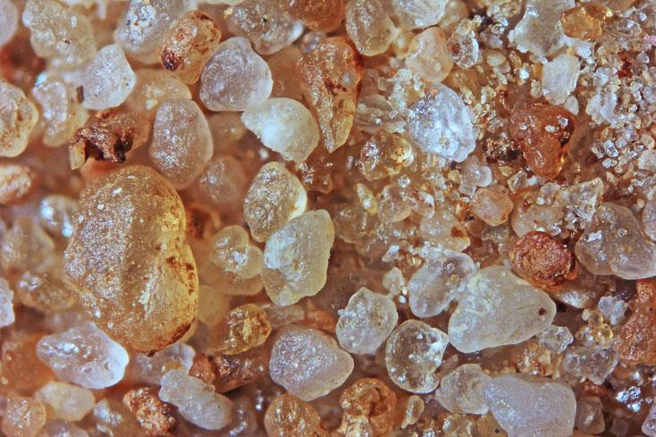 Bild 1 Sand aus Hainburg-Tongrube/Deutschland Ablagerungen, Objektiv Zeiss Plan 2,5/o,o8 Auflicht