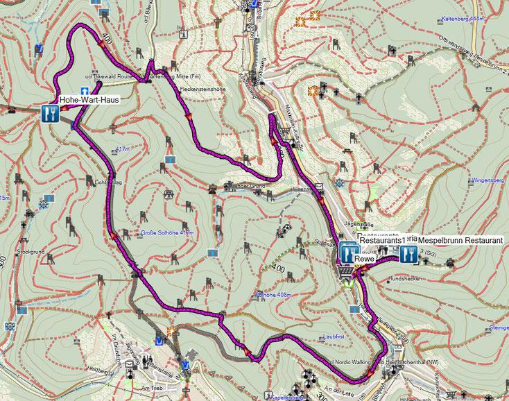 Bild 15 Unsere gelaufene Strecke vom Hohe Wart Haus nach Mespelbrunn und wieder zurück