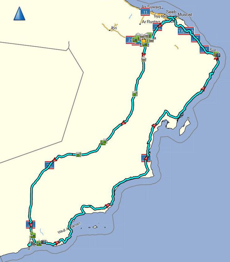 Unsere geplante Tour im Oman 2017