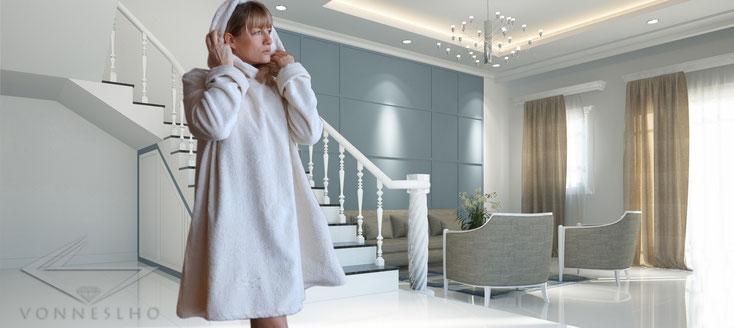 kuscheliger Damen kurz Bio Bademantel, flauschiger Frottee Saunabademantel für Spa & Wellness Couture Spa Luxusbademantel