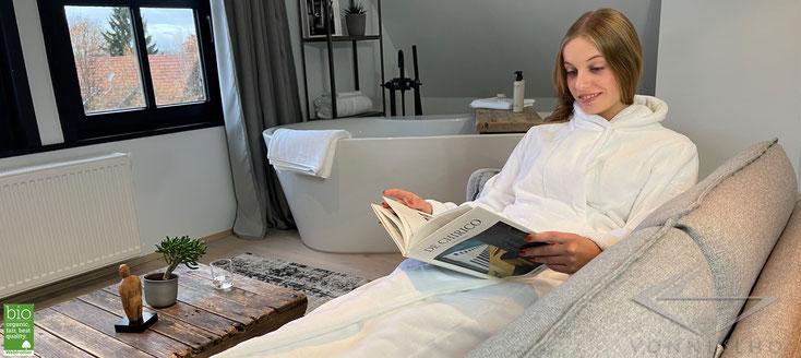 Exklusiver Luxus Herren und Damen Bio Bademantel extra lang edel