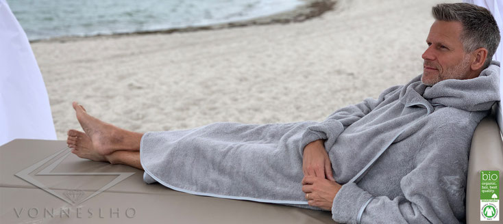 Sauna Bademantel, Damen Bademantel  Kapuze, Bio Wellness Couture Spa Luxusbademantel